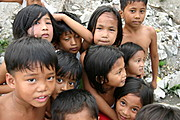 A Cluster of Filipino Kids Posing in Angeles City, Pampanga