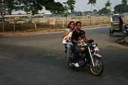 Filipino Family Riding a Motorcycle near Ospital ng Angeles, Angeles City