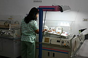 Premature Baby inside Isolette in the Neonatal ICU, Ospital ng Angeles