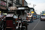 Tricycle followed by Jeepneys Travelling in Angeles City, Pampanga