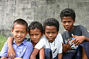 Group of Young Male Aeta and Part Aeta Friends in Angeles City