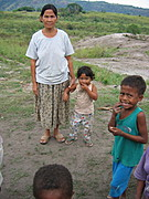 Woman Posing with Granddaughter and Kids from Aeta Settlement Village