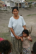Woman Posing with Granddaughter in Aeta Settlement Area