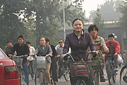 Bikers in Central Beijing, near the Forbidden City