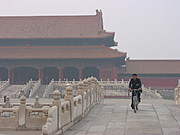 Cyclist inside the Forbidden City, Beijing, China
