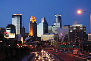 Downtown Minneapolis Skyline in Winter at Dusk