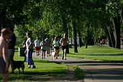 People Jogging on the Path Around Lake Calhoun