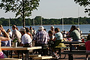 People on the Dining Patio at the Tin Fish, Lake Calhoun