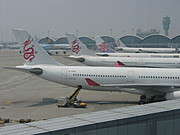 China Airlines Flights along the Gates at Hong Kong Airport