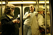 Commuters on the Washington D.C Metrorail (Subway)
