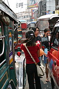 Pedestrians Among the Jeepneys, Divisoria, Manila