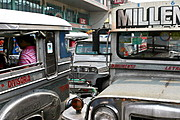 Bumper to Bumper Jeepneys, Three Rows Deep, in Manila, Philippines