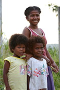 Two Aeta Children and their Mom, Pampanga, the Philippines
