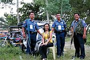 Arlene Posing with the Philippine National Police