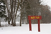 Mary Park Sign in Winter
