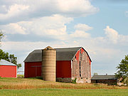 Red Barn and Silo in Rural Wisconsin