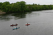 Kayak and Canoes from the Grand Avenue Bridge, Eau Claire, WI