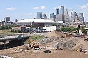 35W Bridge Construction and Downtown Minneapolis Skyline