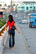Filipina Crossing the Abacan Bridge, Angeles City