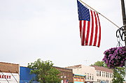 American Flag on Main Street, Rural Wisconsin