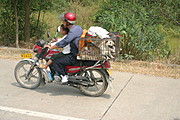 Man and Boy on Dayan Motorcycle with Dog and Rabbits