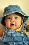 Cute Baby in Overalls and Hat