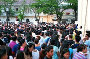 Crowd Outside St. Paul's Cathedral, Vigan, the Philippines