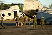 Marines Boarding a CH-53 Sea Stallion, Clark Air Base, Philippines