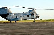 US Marine CH-46 Sea Knight Taxiing on Runway in the Philippines