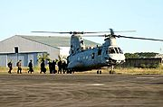 US Marines Boarding a Sea Knight Helicopter, Clark Air Base, the Philippines
