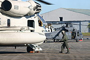 Marine Airman Readies Helicopter for Take-Off, Philippines