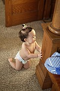 Baby in Diaper Standing Up