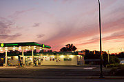 BP Gas Station on Knowles at Sunset