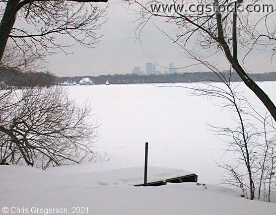 Lake Harriet and Skyline in Winter