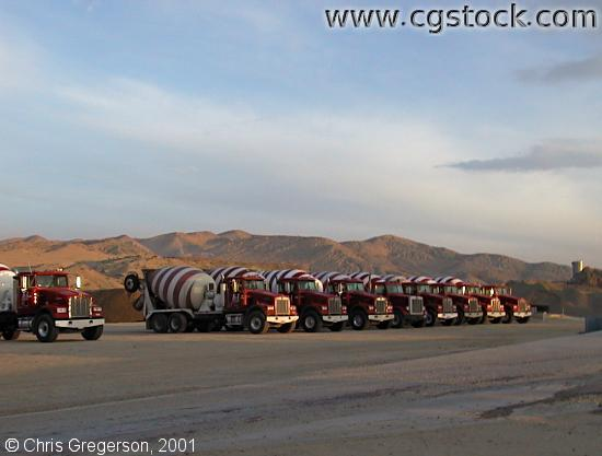 Cement Mixers at Sunrise