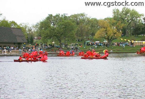 Canoes at the May Day Festival