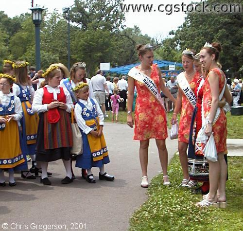 Folk Dancers and Queen Candidates