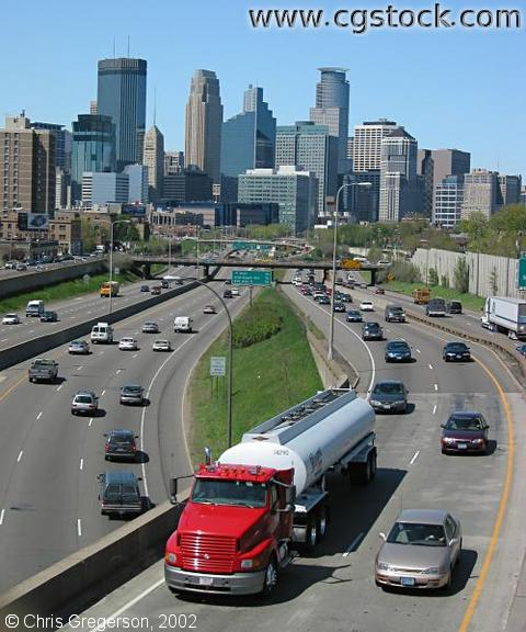 35W and the Downtown Minneapolis Skyline