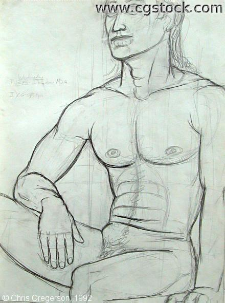 Pencil Contour Drawing of Sitting Male Figure