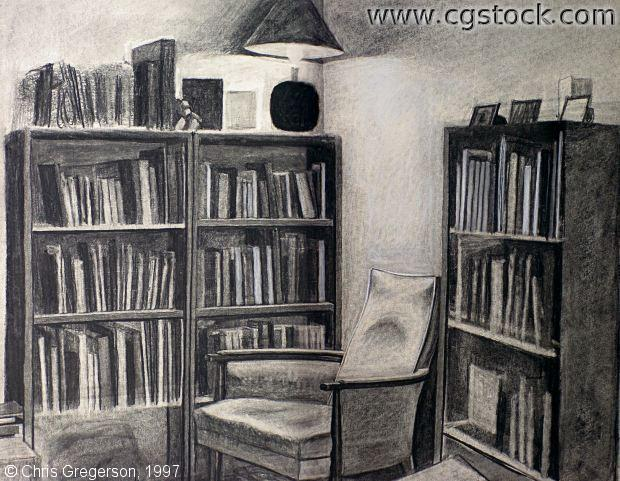 Charcoal Drawing of Bookshelves and Armchair