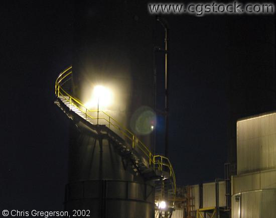 Steam Plant Smokestack at Night
