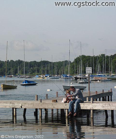 Fishing Lesson on Lake Harriet Dock