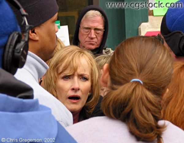 Judy Woodruff Outside Senator Wellstone's Office