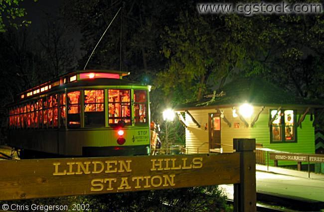 Linden Hills Streetcar Station at Night