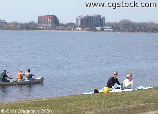 Canoe and Couple on Lake Calhoun