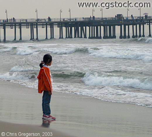 Santa Monica Pier and Child on Beach