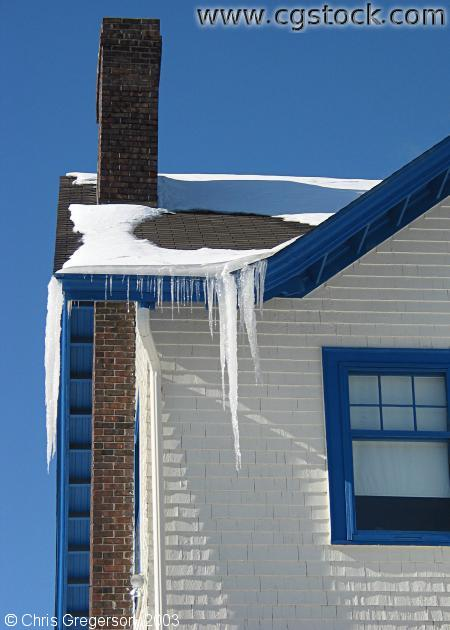Icicles Hanging from the Roof of a House