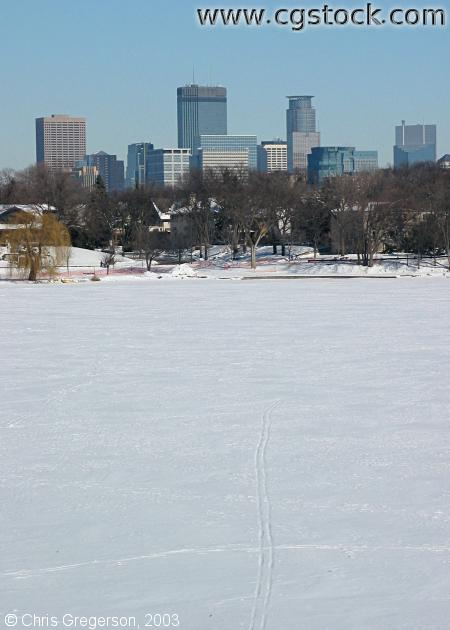 Minneapolis Skyline from Lake of the Isles in Winter