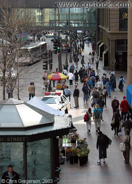 Pedestrians on Nicollet Mall (Overhead)
