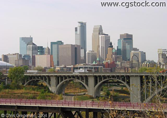 Minneapolis Skyline from Across the Mississippi